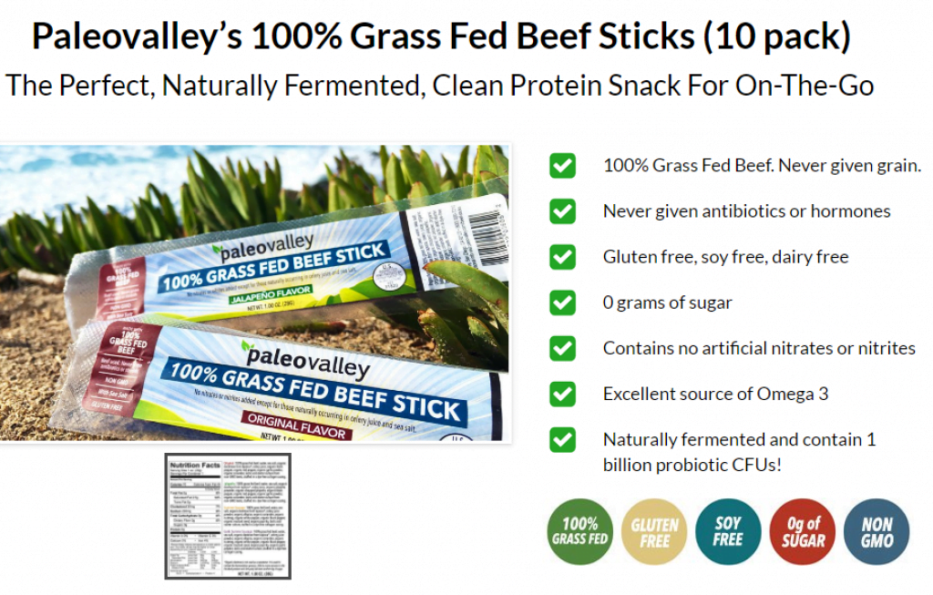 Buy Paleovalley Grass Fed Beef sticks nutrition